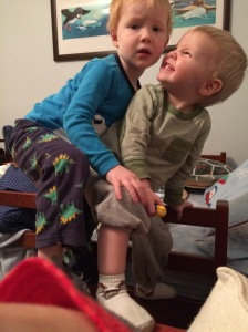 As you might imagine, there is not a lot of sleep happening in there these days. Noah has made it his mission to show Jacob all the ways he could have been avoiding bedtime these past few years.