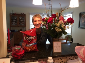 After many Valentine's Days, John knows the way to my heart: flowers and Doritos. Mostly Doritos.